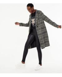 New Look - Tall Light Grey Check Woven Long Coat - Lyst