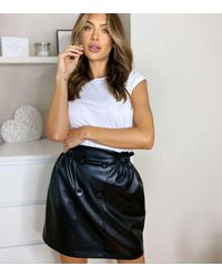 Urban Bliss Black Leather-look Button Mini Skirt
