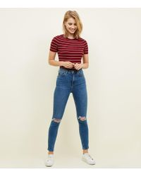 New Look - Blue Ripped High Rise Super Skinny Dahlia Jeans - Lyst