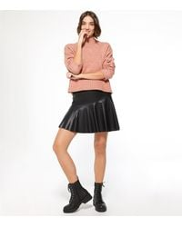 New Look Black Leather-look Flippy Skirt