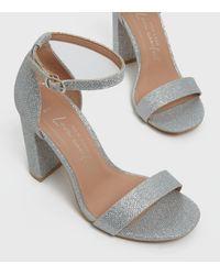 New Look Wide Fit Glitter 2 Part Block Heel Sandals Vegan - Metallic