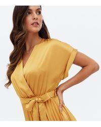 New Look Satin Pleated Midi Wrap Dress - Orange