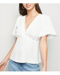 New Look - Off White Button Front Tea Blouse - Lyst