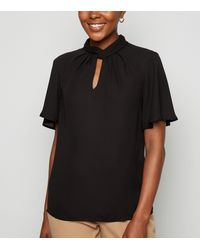 New Look Black Chiffon Twist Pleat Neck Blouse