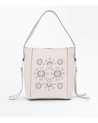 New Look Mink Cut Out And Pearl Embroidered Hobo Bag - White