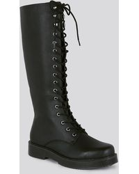 New Look Black Leather-look Lace Up Knee High Boots