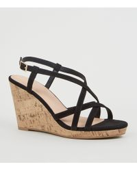 a217b6ab1f New Look Wide Fit Black Suedette Cross Strap Wedges in Black - Lyst
