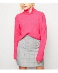 d9a0e04983b Bright Pink Neon Roll Neck Boxy Jumper