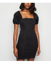 New Look Black Denim Square Neck Puff Sleeve Dress