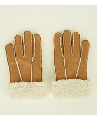 New Look Tan Shearling Suedette Gloves - Metallic