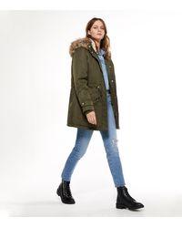 New Look Khaki Faux Fur Hooded Long Parka Jacket - Natural