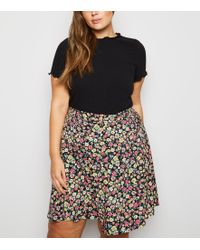 New Look Curves Black Floral Button Up Skater Skirt