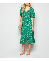 New Look Green Floral Empire Waist Midi Dress