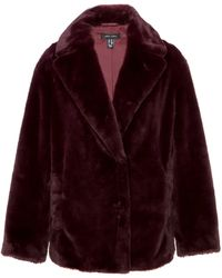 New Look Burgundy Faux Fur Coat - Purple