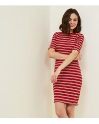 New Look - Red Stripe Ribbed Bodycon Dress - Lyst