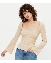 New Look Camel Ribbed Square Neck Long Sleeve Top - Natural