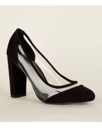 29cf95ccbf3 New Look Wide Fit Black Suedette Platform Court Heels in Black - Lyst