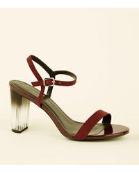 83603f88f328 New Look Burgundy Suedette Low Block Heel Ghillie Sandals - Lyst