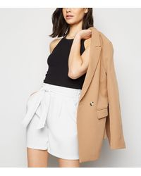 New Look White Belted High Waist Shorts