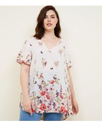 New Look - Curves White Floral Tiered Sleeve Blouse - Lyst