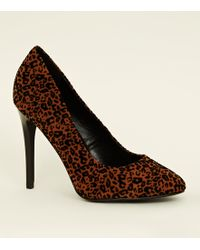 c2e24a169a0 New Look - Brown Flocked Leopard Print Stiletto Courts - Lyst