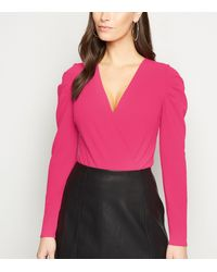 New Look Bright Pink Long Puff Sleeve Wrap Bodysuit