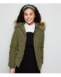 New Look Girls Khaki Faux Fur Trim Fitted Puffer Coat - Green