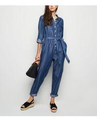 4d5df2f4ab0 Sister Jane Boiler Suit With Jewel Heart Belt In Denim in Blue - Lyst