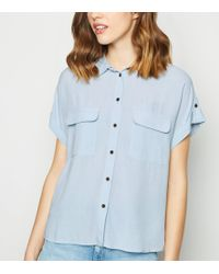 0e9669721e59c7 New Look - Pale Blue Pocket Front Short Sleeve Shirt - Lyst