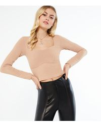 New Look Camel Ribbed Bustier Long Sleeve Top - Natural