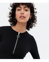 New Look Ribbed Zip Front Long Sleeve Bodysuit - Black