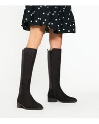 New Look Black Suedette Elasticated Back Knee High Boots