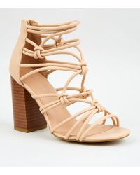 New Look - Cream Leather-look Strappy Knot Heels - Lyst