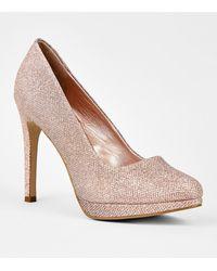 New Look Rose Gold Glitter Platform Stiletto Courts - Metallic