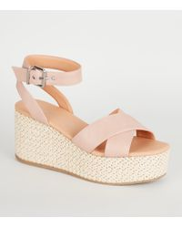 e8f5f7da65d New Look Nude Comfort Suedette Low Wedge Heel Sandals in Natural - Lyst