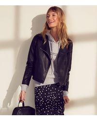 New Look - Black Coated Leather-look Biker Jacket - Lyst