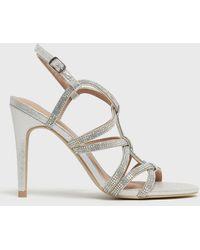 New Look Diamanté Strappy Stiletto Heel Sandals Vegan - Metallic