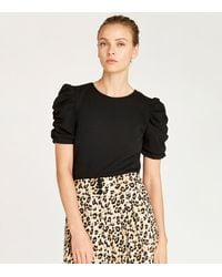 Apricot Black Ruched Puff Sleeve Top