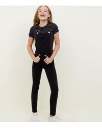 New Look - Girls Black Slim Leg Denim Dungarees - Lyst