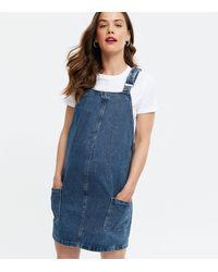 New Look Maternity Blue Denim Pocket Pinafore Dress