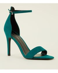 New Look - Green Suedette Strappy Stiletto Heels - Lyst