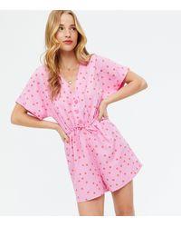 New Look - Pink Spot Tie Waist Playsuit - Lyst