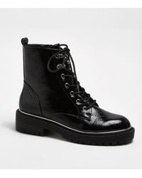 New Look Black Crinkle Patent Chunky Biker Boots