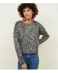 104f39614b7e New Look Green Leopard Camo Print Fine Knit Top in Green - Lyst