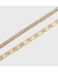 New Look 2 Pack Gold Diamanté And Chain Bracelets - Metallic