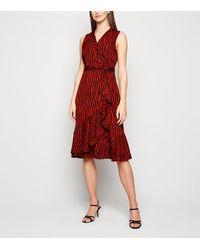 Mela Red Zebra Print Wrap Midi Dress