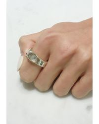 Ali Grace Jewelry | Rainbow Moonstone And Sterling Silver Wide Organic Setting Ring | Lyst