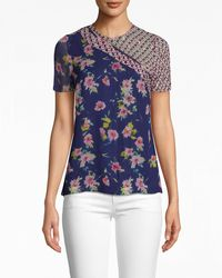 Nicole Miller Cosmo Flora T-shirt - Blue