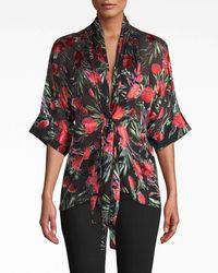 Nicole Miller Spring Garden Kimono Blouse - Multicolor