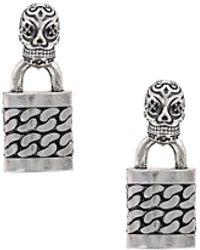 Nicole Miller - Skull Punk Lock Earrings - Lyst